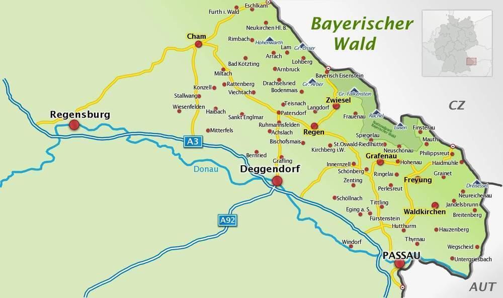 karte bayerischer wald Orte in der Region Bayerischer Wald